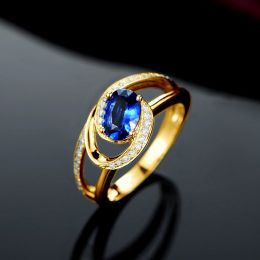 Bague de fiançailles saphir ovale 1 carat. Diamant, Or jaune