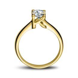 Bague en forme de lettre - initiale K - Diamant, or jaune | Gemperles