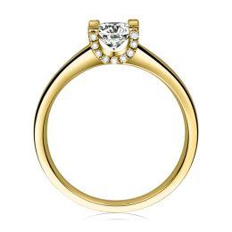 Bague lettre de l'alphabet - Initiale U ou C - Or jaune, diamants | Gemperles