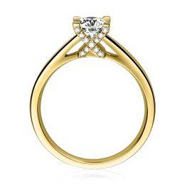 Bague alphabétique - Initiale X - Or jaune, diamants   Gemperles