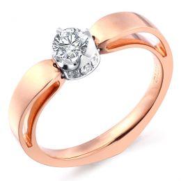 Solitaire Anneau Bombé - Or Blanc & Rose - Couronne Diamants   Gemperles