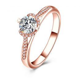 Bague Solitaire Amélia - Or Rose 0.45ct & Diamant Central 0.35ct | Gemperles