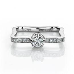 Anello di Fidanzamento Cabaret - Oro Bianco 18kt & Diamante Mobile | Gemperles