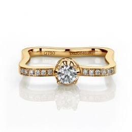 Anello di Fidanzamento Cabaret - Oro Giallo 18kt & Diamante Mobile | Gemperles