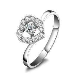 Bague de Fiancaille Coeur de Diamants - Solitaire en Or Blanc | Gemperles