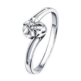 Bague solitaire fleur d'amour diamantée - En or blanc - Paul Verlaine