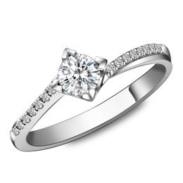 Solitaire bague liseré diamanté - Or blanc 750/1000 | Gemperles