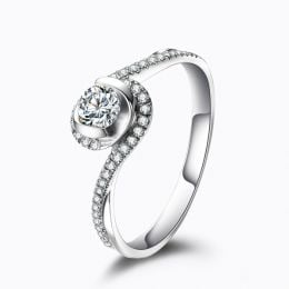 Solitaire Or Blanc & Diamants - Je t'appartiens | Gemperles