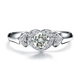 Bague Solitaire Coeurs Splendides - Or Blanc & Diamants | Gemperles
