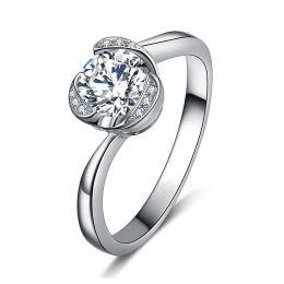 Bague Solitaire Délicatesse Or Blanc 18cts - Forme Coeur - Diamants | Gemperles