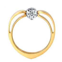 Solitaire anneau bombé - Or blanc & jaune - Couronne diamants 0.58ct | Jefferson