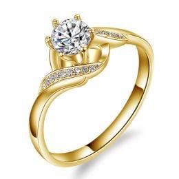 Bague Solitaire Enlacée - Bague Elliptique Or Jaune & Diamants | Gemperles