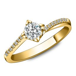 Bague Solitaire Bordure Diamantée Périclès - Or Jaune 18 carats | Gemperles