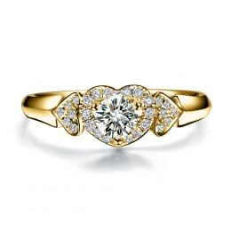 Bague Solitaire Coeurs Splendides - Or Jaune & Diamants   Gemperles