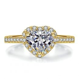 Bague Cœur Solitaire Love etc - Or Jaune 18 Carats - Diamants | Gemperles