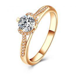 Bague Solitaire Amélia - Or Jaune 0.45ct & Diamant Central 0.35ct | Gemperles
