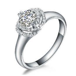 Bague Solitaire Gracieuse Majesté - Or Blanc & Diamants Enroulés   Gemperles