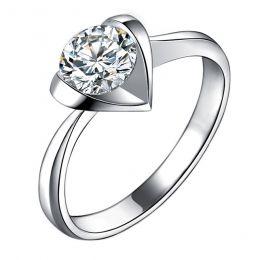 Bague Solitaire Coeur Majestueux - Or Blanc & Diamant | Gemperles