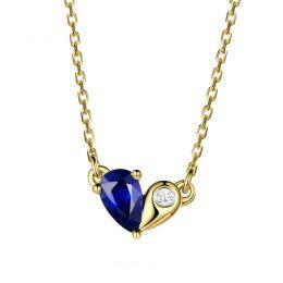 Pendentif coeur saphir et diamant. Or jaune avec sa chaîne