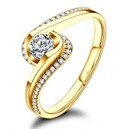 Solitaire A Une Passante -  Diamants & Or Jaune - Baudelaire  | Gemperles