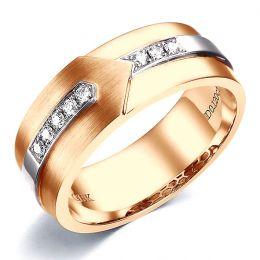 Bague Homme moderne. Or rose et blanc 18cts, 8 Diamants VS / G   Camillo