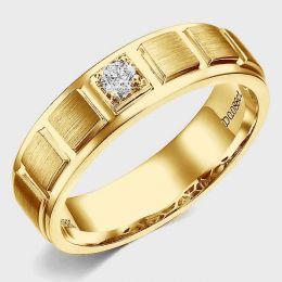 Bague en or jaune pour Homme. Finition polie et brossée. Diamant | Elbow