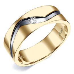 Bague anneau originale Homme en or jaune - Diamant demi-clos serti | Démétrius