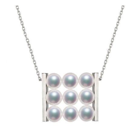 Pendentif 9 perles Akoya. Rails or blanc. Perles damier. Tezuka