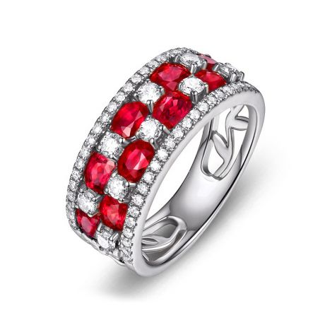 Bague damier Or blanc. Rubis et diamants alternés