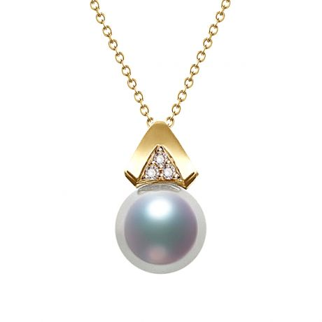 Pendentif triangulaire perle Akoya du Japon, Or jaune et diamants