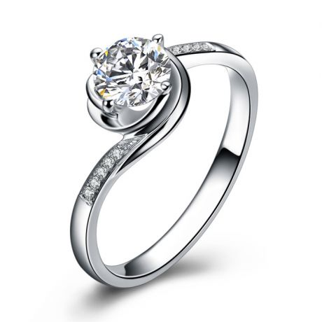 Bague de Fiancailles Rose Vertige - Solitaire Or blanc, Diamants 0.35ct | Gemperles
