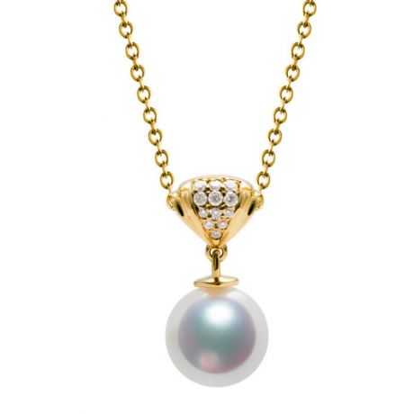 Ciondolo Sarah Bernhardt - Oro Giallo 18kt, Diamanti e Perla Akoya