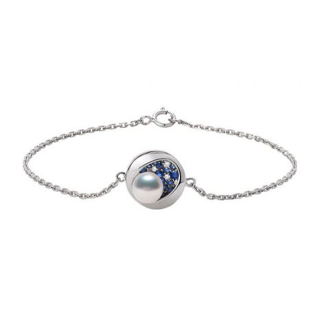 Braccialetto perla Akoya Seiza. Diamanti, zaffiri, Oro bianco I Gemperles