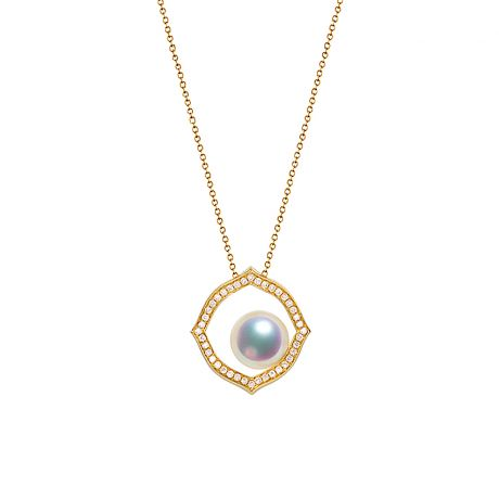 Pendentif or jaune perle culture Akoya, Diamant - Coco Chanel