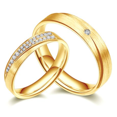 Alliances Duo Sillage Amoureux en Or jaune et Diamants | Gemperles