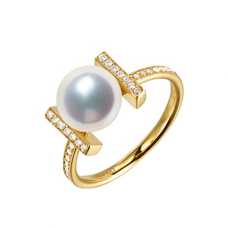 Anello Otohiko - Oro Giallo, Diamanti e Perla Akoya