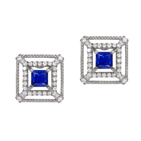 Boucle d Oreille carré de lumière - Or blanc, saphir, diamant