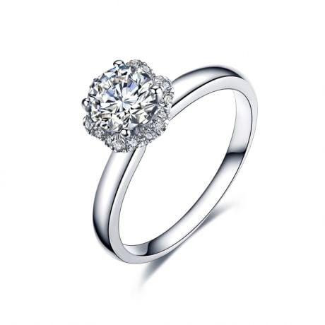 Anello di Fidanzamento Seducente Ranuncolo - Diamante Solitario Composto & Oro Bianco | Gemperles