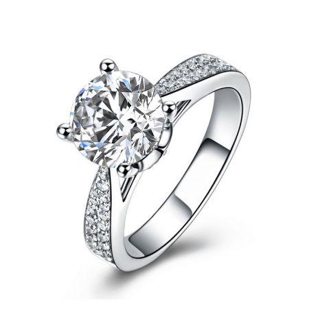 Anello di Fidanzamento Lafayette - Diamante Solitario su Oro Bianco 18k | Gemperles