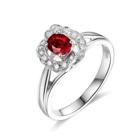 Anello di Fidanzamento Hua Mulan - Oro Bianco, Rubino & Diamanti