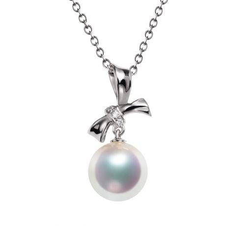 Ciondolo Itsuka - Oro Bianco 18kt, Diamanti e Perla Akoya