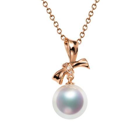 Ciondolo Itsuka - Oro Rosa 18kt, Diamanti e Perla Akoya
