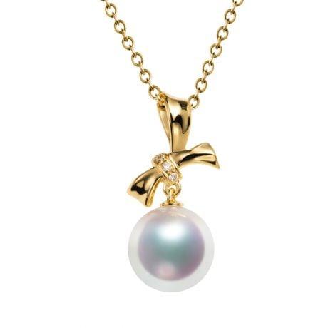 Ciondolo Itsuka - Oro Giallo 18kt, Diamanti e Perla Akoya