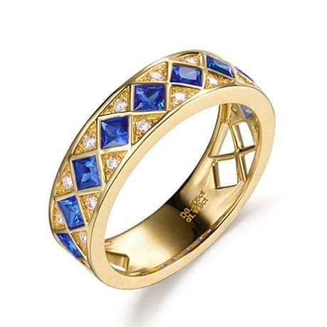 Anello Dama Di Quadri - Oro Giallo, Mezzo Giro di Zaffiri & Diamanti