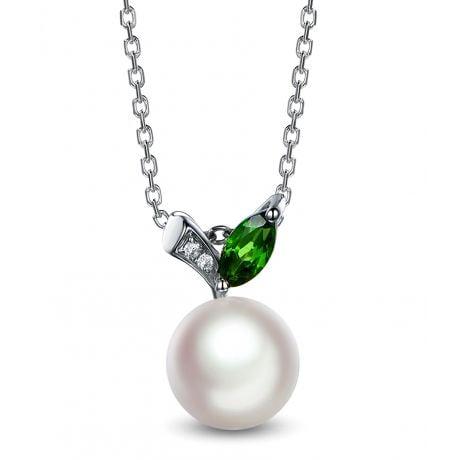 Ciondolo Péridoshima Mon Amour - Oro Bianco, Diamanti e Perla Akoya