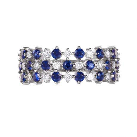 Bague damier saphir & diamant, Or blanc | San Lorenzo
