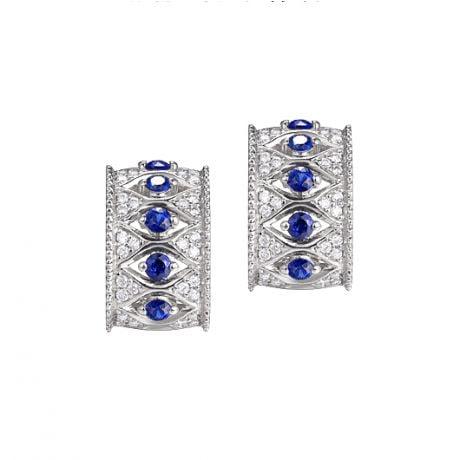 Orecchini a Lobo Farnese - Zaffiri e Diamanti su Oro bianco 18ct | Gemperles