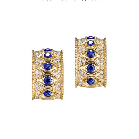 Orecchini a Lobo Farnese - Zaffiri e Diamanti su Oro Giallo 18ct | Gemperles