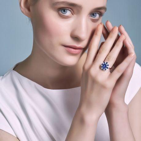 Anello Marguerite Du Cap - Oro Giallo, Diamanti & Zaffiri