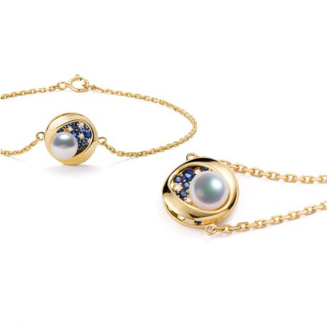 Braccialetto perla Akoya Seiza. Diamanti, zaffiri, Oro giallo I Gemperles